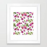 April blooms IV - Fuchsia White Framed Art Print