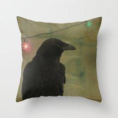 Dark Crow Celebration Throw Pillow
