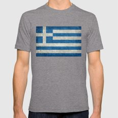 Flag of Greece - vintage retro style Mens Fitted Tee Tri-Grey SMALL