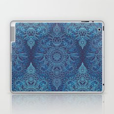 Aqua, Cobalt Blue & Purple Protea Doodle Pattern Laptop & iPad Skin