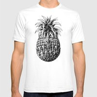 Ornate Pineapple Mens Fitted Tee White SMALL