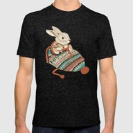 Cozy Chipmunk Mens Fitted Tee Tri-Black MEDIUM
