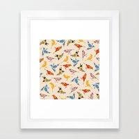 Vintage Wallpaper Birds Framed Art Print
