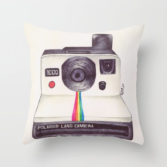 Ballpoint Pen Polaroid Throw Pillow