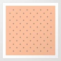 Crosses On Peach Art Print