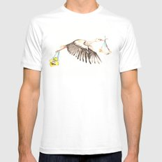 Baby on Bird SMALL Mens Fitted Tee White