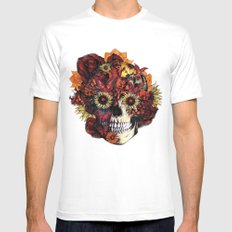 Full circle...Floral ohm skull SMALL Mens Fitted Tee White