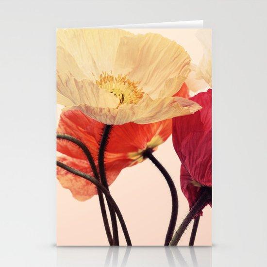 Posing Poppies - bright, vintage toned poppy still life Stationery Card