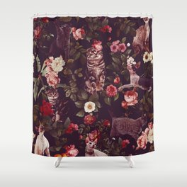 Shower Curtain - Cat and Floral Pattern - Burcu Korkmazyurek
