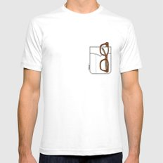 Pockets - The Hipster - SMALL White Mens Fitted Tee