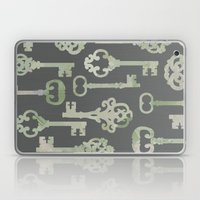 Skeleton Key Pattern in Gray Laptop & iPad Skin
