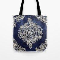 Cream Floral Moroccan Pattern on Deep Indigo Ink Tote Bag