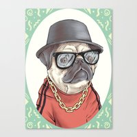 90's Pug rapper Canvas Print
