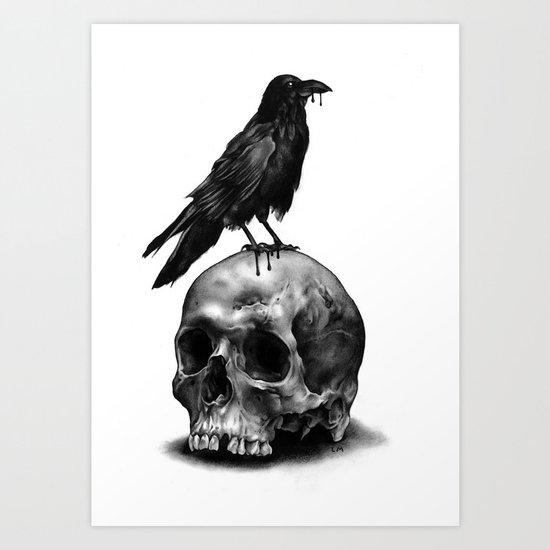 Skull & Raven Art Print