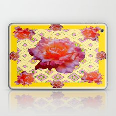 Decorative Yellow Pink Antique Roses Pattern Laptop & iPad Skin