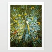 Green Peacock  Art Print