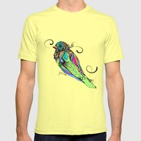 Colorful Bird Mens Fitted Tee Lemon SMALL