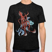 Squid and Fish Mens Fitted Tee Tri-Black SMALL