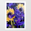 Sunflower & Iris Art Print