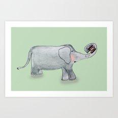 Elefant In Love Art Print