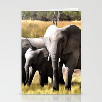 elephants Stationery Cards featuring Elephants by Regan's World