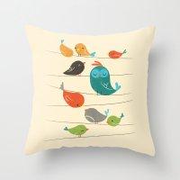 Colorful Birds Throw Pillow