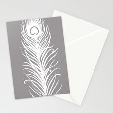 White Peacock Feathers Stationery Cards