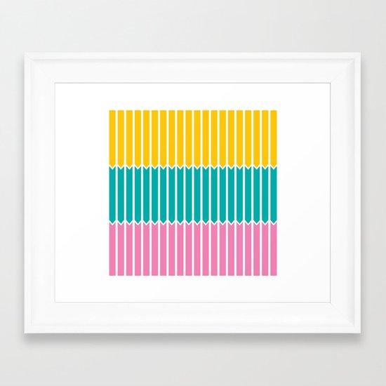 Arrows (Yellow, Aqua, Pink) Framed Art Print
