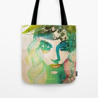 floral girl illustration Tote Bag