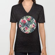 Unisex V-Neck featuring Painted Protea Pattern by Micklyn