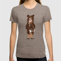 Fur Sure Womens Fitted Tee Tri-Coffee SMALL