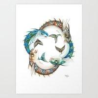 INKYFISH - Fish Circle #… Art Print