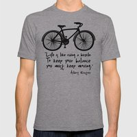 Life Is Like Riding A Bi… Mens Fitted Tee Athletic Grey SMALL