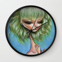 Green petals - Pop Surrealism Illustration Wall Clock