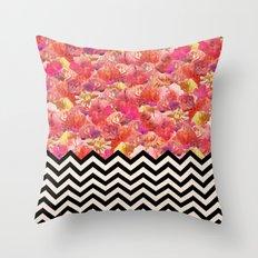 Chevron Flora Throw Pillow