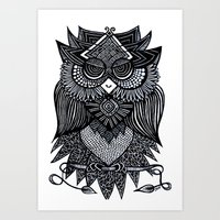 Sleepy Owl Art Print