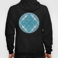 Teal & White Lace Pencil Doodle Hoody