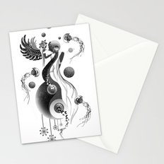 Moon Goddess Lunaria - Yin Yang universe, planets and jellyfish with sacred geometry Stationery Cards