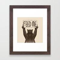Feed Me Bear Framed Art Print