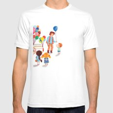 Balloon Stand White Mens Fitted Tee SMALL