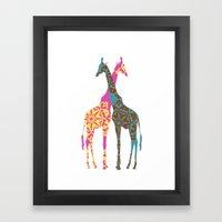 Two Giraffes together Framed Art Print