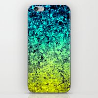 OMBRE LOVE Bold Beautiful Starry Night Glitter Abstract Painting Midnight Blue Mint Turquoise Yellow iPhone & iPod Skin