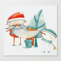 Santa and friend Canvas Print