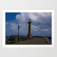 Harbour Light Whitby Art Print