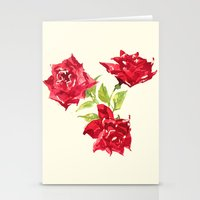 Three Red Roses Stationery Cards