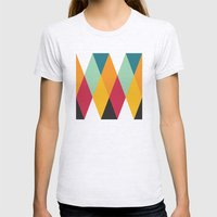 Yellow Orange Red Blue Black Diamond Pattern  Womens Fitted Tee Ash Grey SMALL