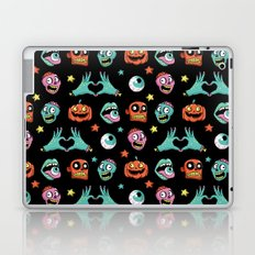 Halloween pattern with funny zombies, pumpkin and other elements. Laptop & iPad Skin