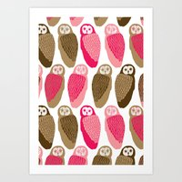 owls Art Prints featuring Owls by Lydia Meiying