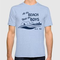At the Beach with the Boys Mens Fitted Tee Tri-Blue SMALL