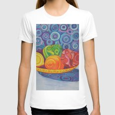 Fruit Bowl Still Life Womens Fitted Tee White SMALL